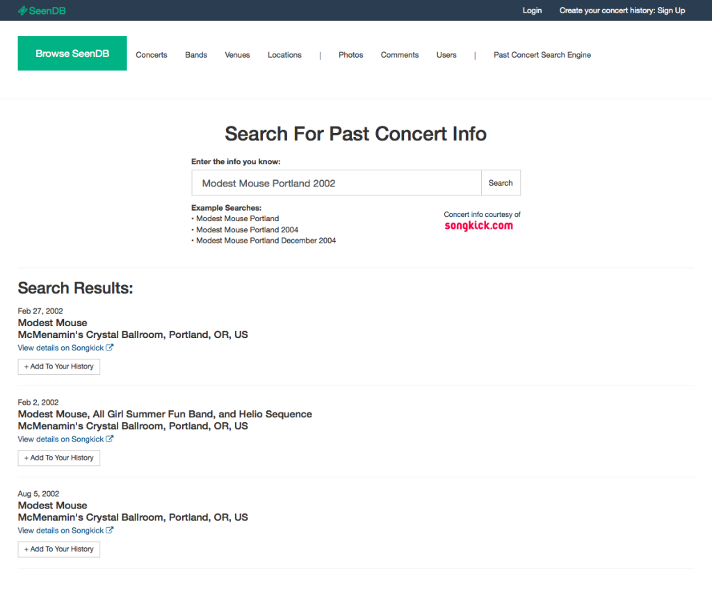 Search Past Concerts